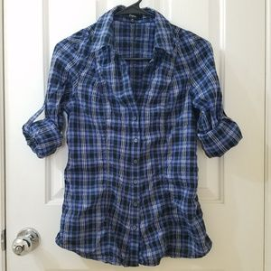 EXPRESS Blue-Silver Metallic-Black Plaid Top NWOT